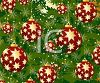 picture of red Christmas balls with Gold Stars in a vector clip art illustration clipart