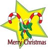 picture of candy canes with a green bow on a yellow star merry christmas banner in a vector clip art illustration clipart