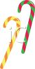 picture of a 2 different colored candy canes on a white background in a vector clip art illustration clipart