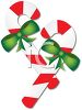 picture of candy cane with green bows in a vector clip art illustration clipart