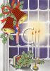 picture of a holiday window scene with burning candles in a vector clip art illustration clipart