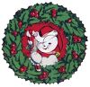 picture of a Holiday wreath with a snowman holding a candy cane inside in a vector clip art illustration clipart