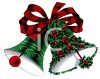 picture of Christmas bells with a Red bow. one is covered in holly berries in a vector clip art illustration clipart