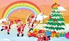 picture of reindeer dressed as santa frolicking around an outdoor decorated christmas tree with gifts with a rainbow in the skies in a vector clip art illustration clipart