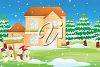 picture of a holiday scene with snowmen, snowy trees and a beautiful two story house in a vector clip art illustration clipart