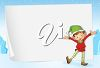picture of  a dancing elf standing in front of a white paper on a snowy blue background in a vector clip art illustration clipart
