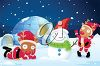 picture of santa's reindeer's dressed as santa decorating a snowman by their igloo home, one reindeer is slaying on the ground being lazy in a vector clip art illustration clipart