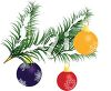 Clip Art of a Tree Branch Decorated With Christmas Decorations