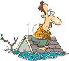picture of a frustrated man sitting on his roof in with his house flooded under water in a vector clip art illustration clipart
