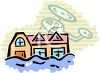 picture of a helipcoter flying over a house under water in a flood in a vector clip art illustration clipart