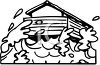 picture of a house in a flood in a vector clip art illustration clipart