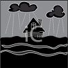 picture of a house in the center of a tsunami flood in the evening in a vector clip art illustration clipart