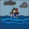 picture of a house in the center of a tsunami flood in a vector clip art illustration clipart
