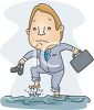 picture of a business holding his shoes walking through a flood in a vector clip art illustration clipart
