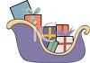 picture of a sled full of wrapped christmas gifts in a vector clip art illustration clipart