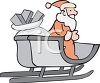 picture of a sled full of wrapped christmas gifts and santa standing in the sled in a vector clip art illustration clipart