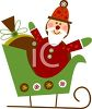 picture of a toy santa and other gifts in a green sled in a vector clip art illustration clipart