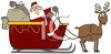 picture of Santa in a sled with bags of gifts being pulled by rudolf in a vector clip art illustration clipart
