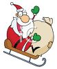 picture of a cartoon santa joyfully sledding down a snowy hill with a large bag of toys in a vector clip art illustration clipart