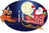 picture of a cartoon santa being pulled in the air by rudolph in a sled with gifts by a full moon in the clear night in a vector clip art illustration clipart