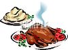 picture of  a fresh cooked turkey with the trimmings on a platter, and a side of mashed potatoes in a vector clip art illustration clipart