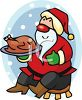 picture of a cartoon Santa sitting on a stool holding a cooked turkey on a platter in a vector clip art illustration clipart