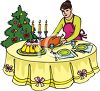 picture of a woman putting a turkey on the dinner table for Christmas dinner in a vector clip art illustration clipart