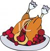 picture of a Cooked turkey stuffed with Cranberries on a platter in a vector clip art illustration clipart