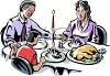 picture of a family at the dinner table on Christmas praying for thanks for their Food in a vector clip art illustration clipart