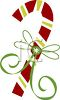 picture of a striped candy cane with a green ribbon in a  vector clip art illustration clipart