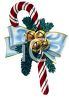 picture of a striped candy cane with evergreen, a blue ribbon, an bells attached in a vector clip art illustration clipart