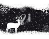picture of a holiday scene in the evening with snowflakes and a silhouette of a deer in a vector clip art illustration clipart