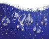 picture of a christmas card with a blue background with snowflakes and hanging baubles in a vector clip art illustration clipart