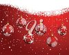 picture of a christmas card with a red background with snowflakes and hanging baubles in a vector clip art illustration clipart