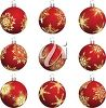 picture of  red christmas ball decorations in a vector clip art illustration clipart