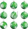 picture of  green christmas ball decorations in a vector clip art illustration clipart