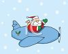 picture of santa claus flying in an airplane delivering gifts in a vector clip art illustration clipart