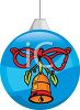 picture of  a blue  Christmas tree decoration With a bell and red bow painted on the side in a vector clip art illustration clipart