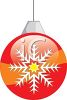 picture of a striped christmas decoration with a snowflake decorated on the side in a vector clip art illustration clipart