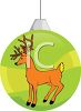 picture of a striped christmas ornament with a reindeer on the side in a vector clip art illustration clipart