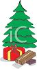 picture of a christmas tree with gifts underneath in a vector clip art illustration clipart