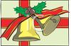 picture of a christmas gift wrapped in a box decorated with a picture of golden bells holly berries and red ribbon in a vector clip art illustration clipart
