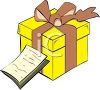 picture of a gift wrapped in a yellow box with a brown ribbon with a note up against the box in a vector clip art illustration clipart