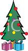 picture of a decorated christmas tree with wrapped gifts under the tree in a vector clip art illustration clipart