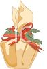 picture of a christmas gift wrapped in foil wrap with a red bow and holly berries in a vector clip art illustration clipart