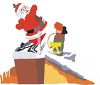 picture of a cartoon santa on a roof delivering christmas gifts in a vector clip art illustration clipart
