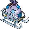 picture of a sled with a star printed bag of toys in a vector clip art illustration clipart