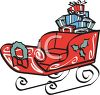 picture of a red decorated sleigh full of christmas gifts in a vector clip art illustration clipart