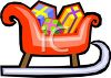 picture of a cartoon sleigh with boxes of gifts inside in a vector clip art illustration clipart