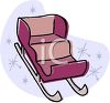 picture of a purple sleigh on a snowy background in a vector clip art illustration clipart